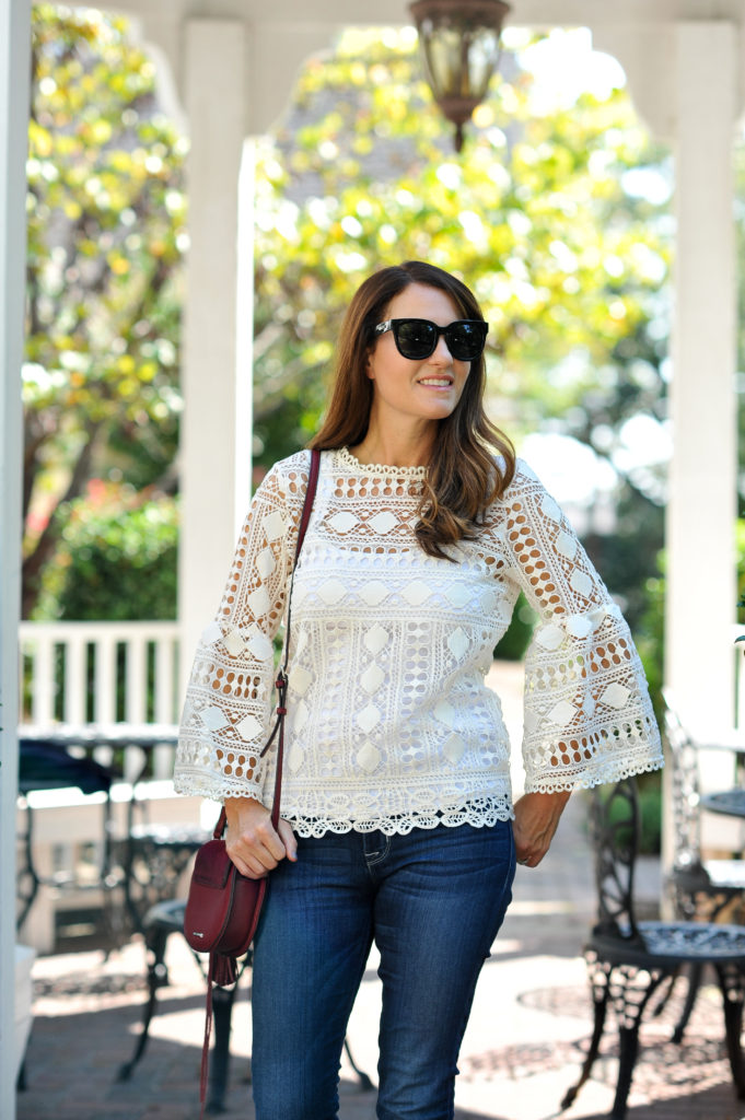 The perfect lace blouse for fall via Peaches In A Pod blog.