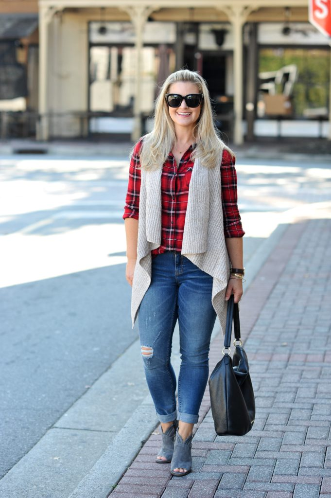 How to style a drapy vest with a plaid shirt to create a great casual fall outfit.