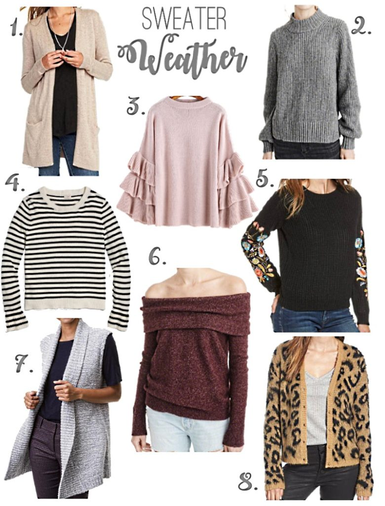 Cute Sweaters for Fall via Peaches In A Pod blog. Stop by and see our favorite sweaters for the season and the hottest trends.