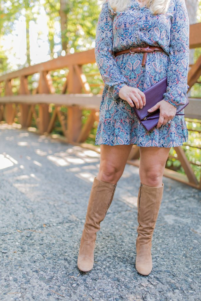 How to wear tan tall boots with a dress.