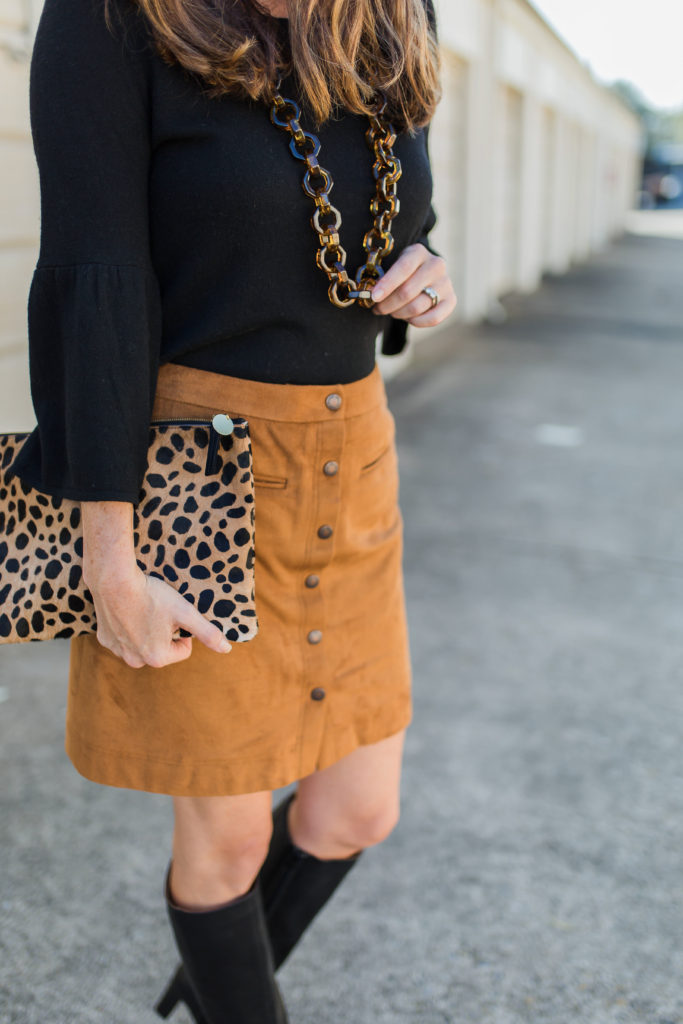 How to wear a suede skirt via Peaches In A Pod blog.