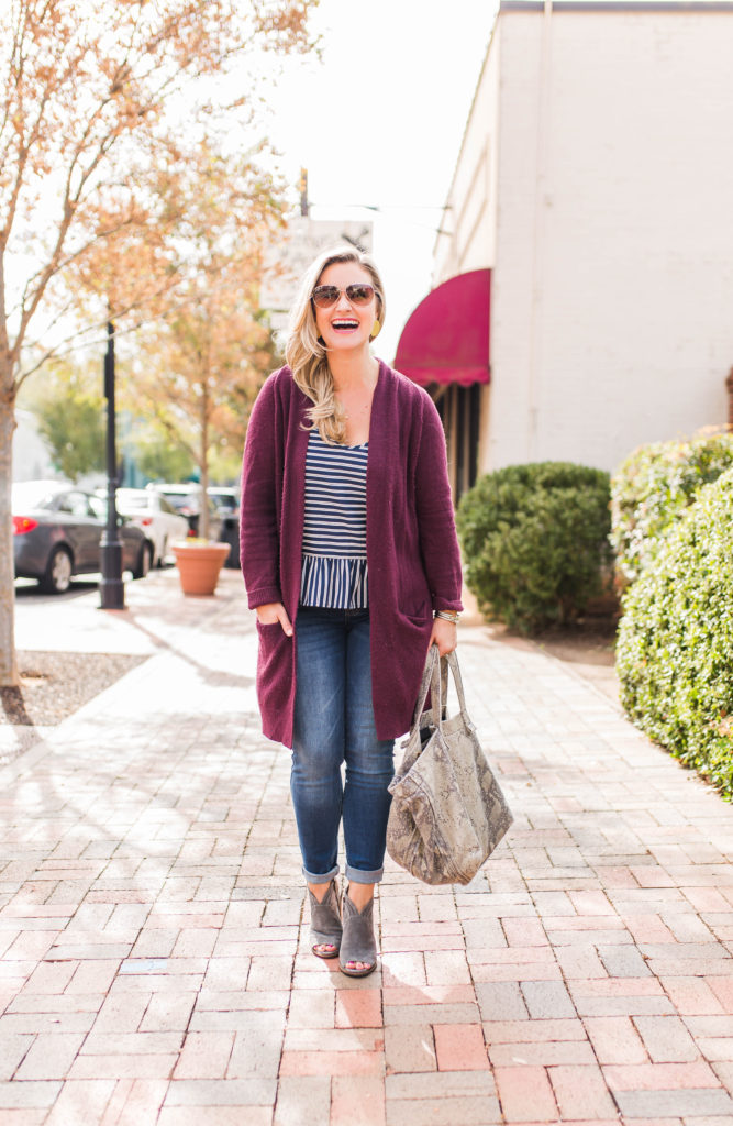 Cute fall outfit with a cranberry cardigan and open toe booties