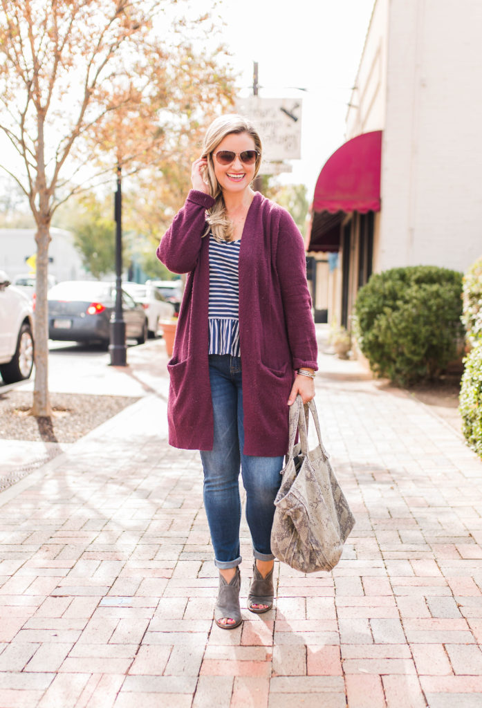 Cute fall outfit with a cranberry sweater and open toe booties