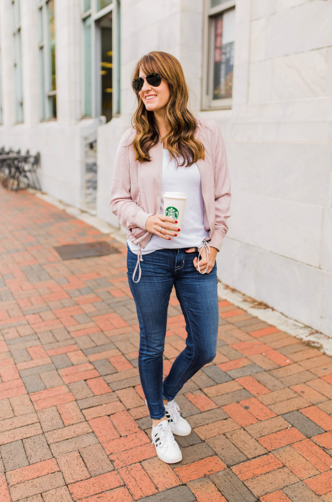 How to wear a bomber jacket via Peaches In A Pod. Cute pink bomber jacket outfit idea.