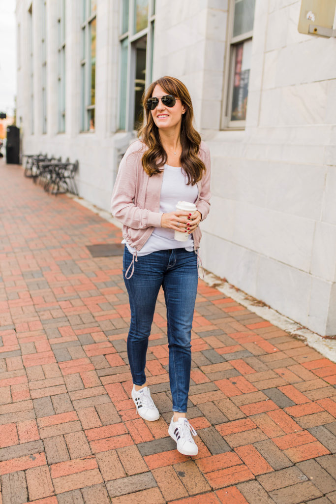 Bomber jacket style via Peaches In A Pod blog.