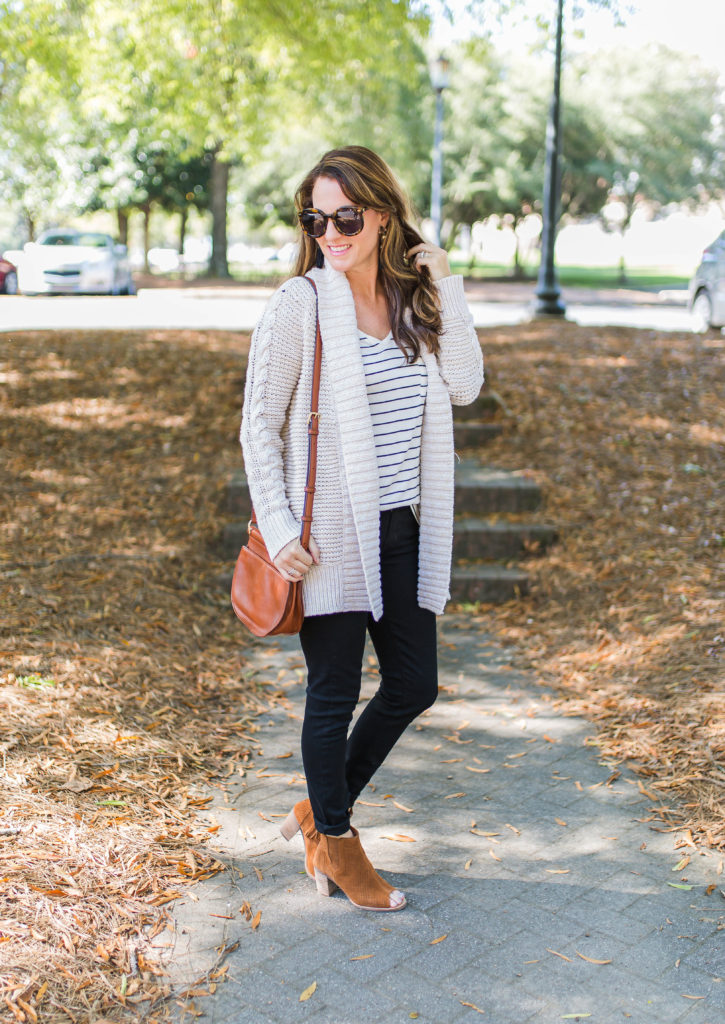 How to style a cardigan sweater for Fall via Peaches In A Pod blog. Great fall outfit inspiration.