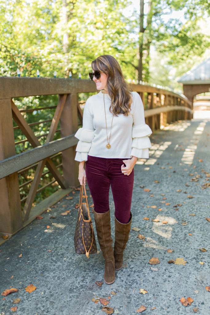 What I'm wearing to Thanksgiving dinner via Peaches In A Pod blog. Women's Thanksgiving outfit idea.