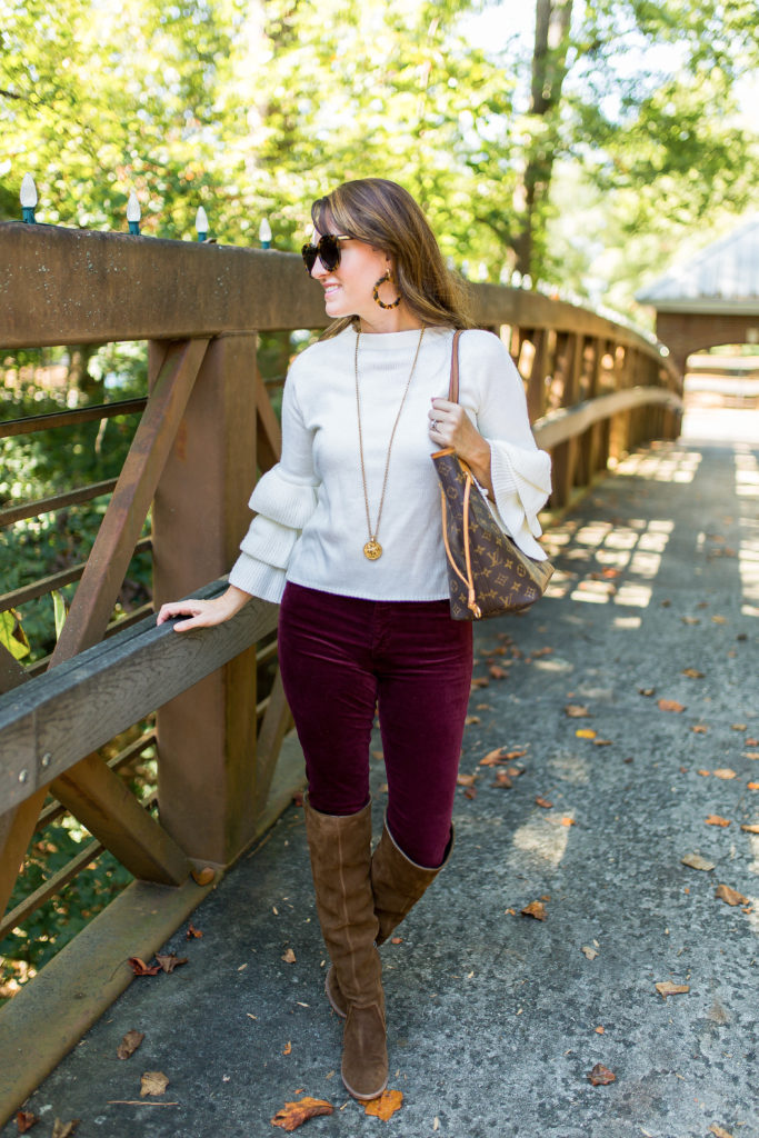 How to wear velvet jeans via Peaches In A Pod blog. The velvet Farrah skinny jeans by AG.