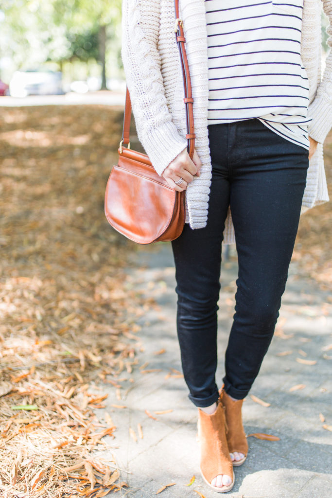 Vera Bradley brown leather crossbody bag via Peaches In A Pod blog.