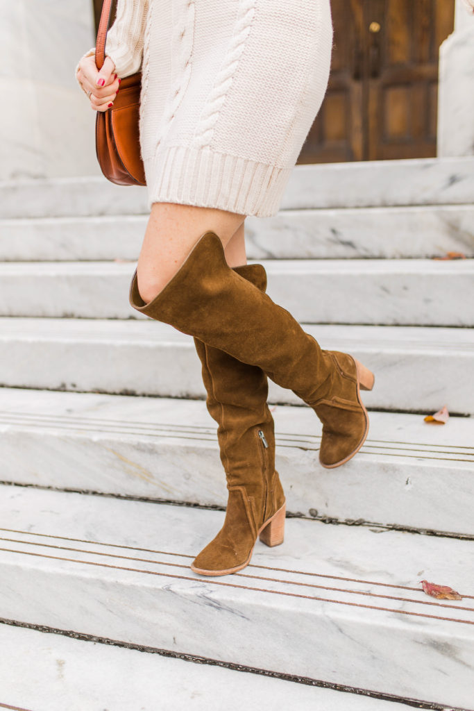 Brown suede over the knee boots via Peaches In A Pod blog.
