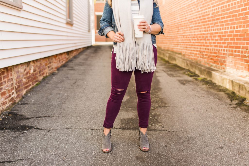 How to style burgundy jeans for winter.