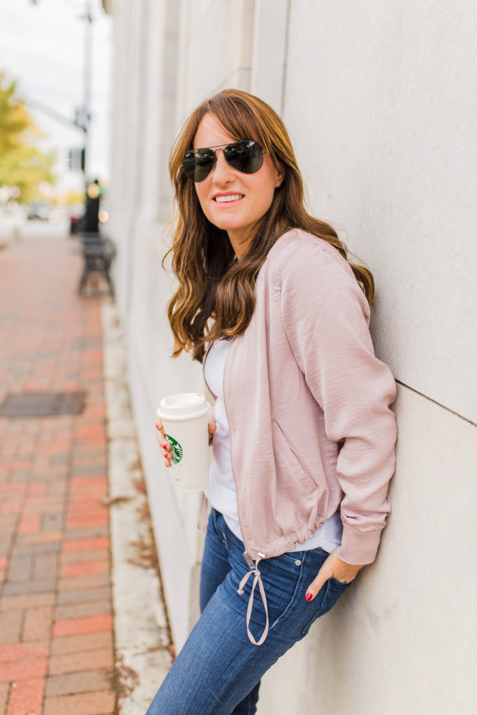 Cute bomber jacket style via Peaches In A Pod blog.