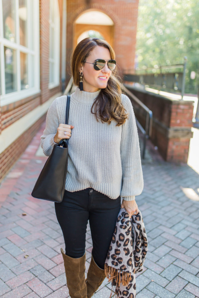 Cute sweater outfit for fall via Peaches In A Pod blog.
