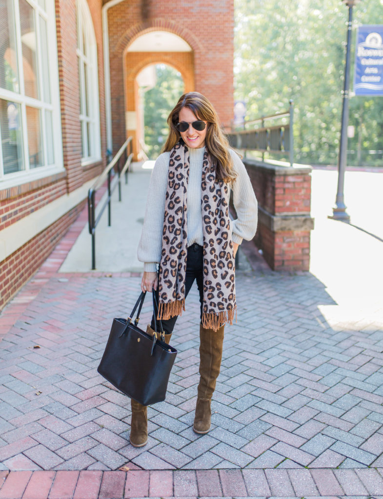 How to wear a leopard scarf for fall via Peaches In A Pod blog.