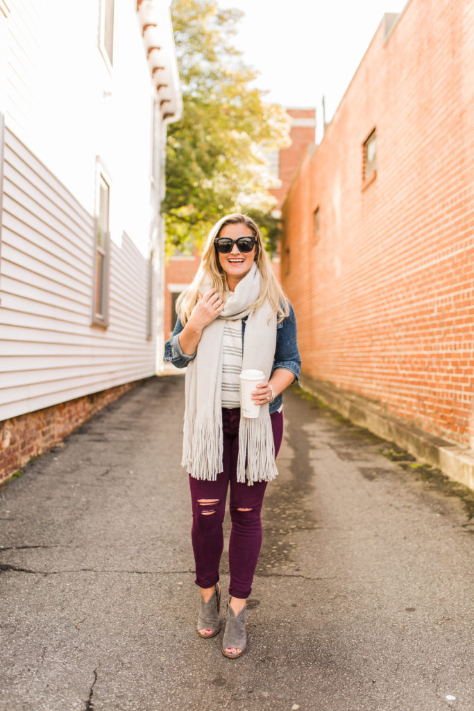How to style an oversized scarf for winter.