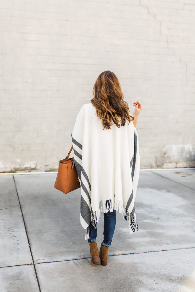 How to style a poncho via Peaches In A Pod blog.