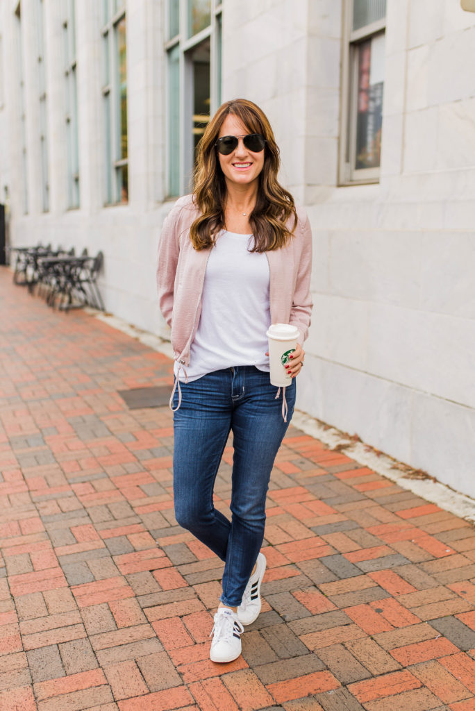 Cute bomber jacket outfit idea for women via Peaches In A Pod blog.