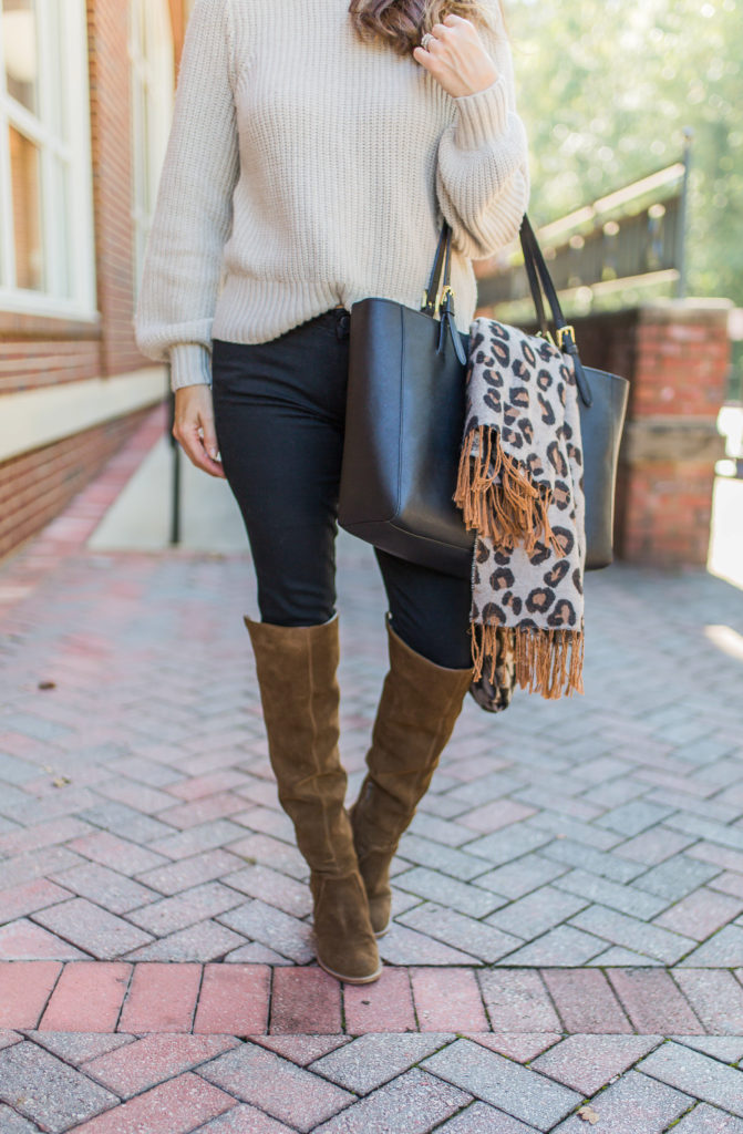 Over the knee boots outfit for fall via Peaches In A Pod blog.