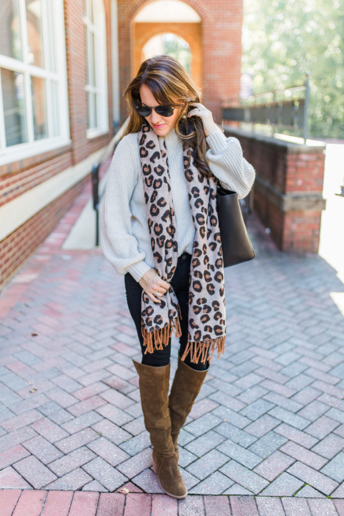 Leopard scarf outfit via Peaches In A Pod blog.