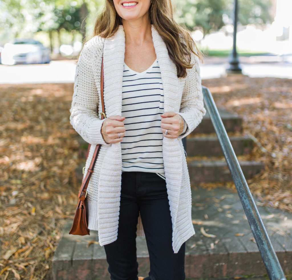 Cute and casual cardigan sweater via Peaches In A Pod blog.