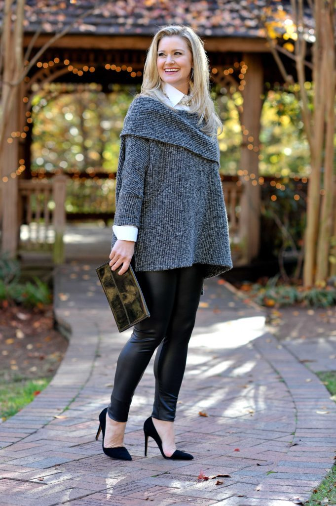 Dressy holiday outfit idea via Peaches In A Pod blog.