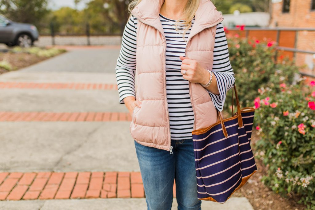 Cute pink puffer vest that is great to keep warm and look cute for winter.