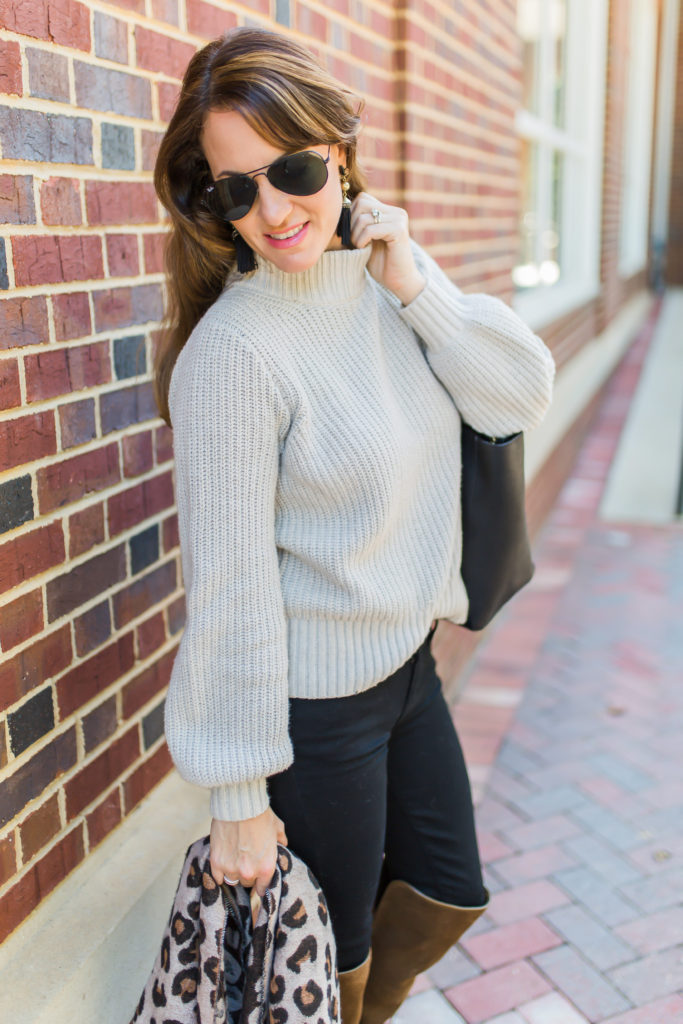 Abercrombie and Fitch puff sleeve mock sweater via Peaches In A Pod.
