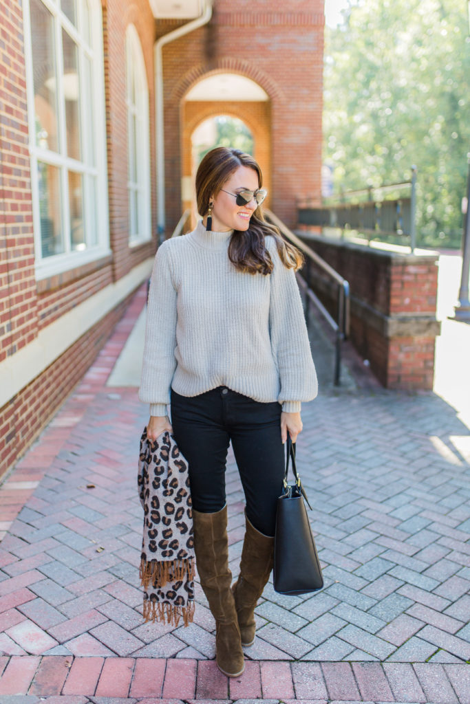 Puff sleeve sweater via Peaches In A Pod blog.