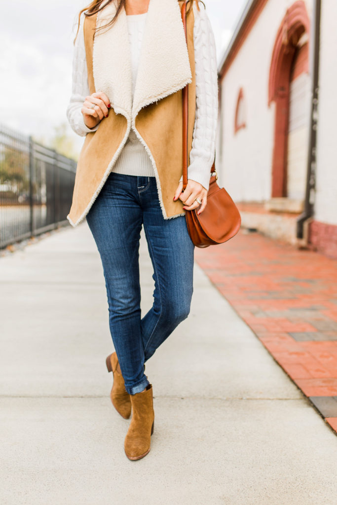 Shearling vest outfit idea via Peaches In A Pod blog.
