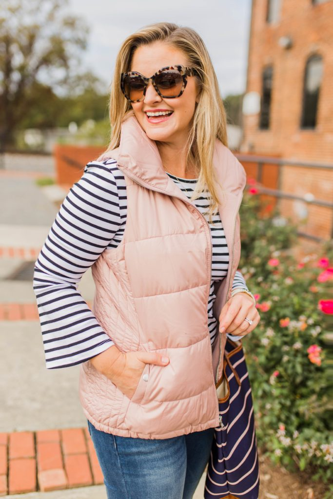 Cute pink puffer vest that is warm and inexpensive