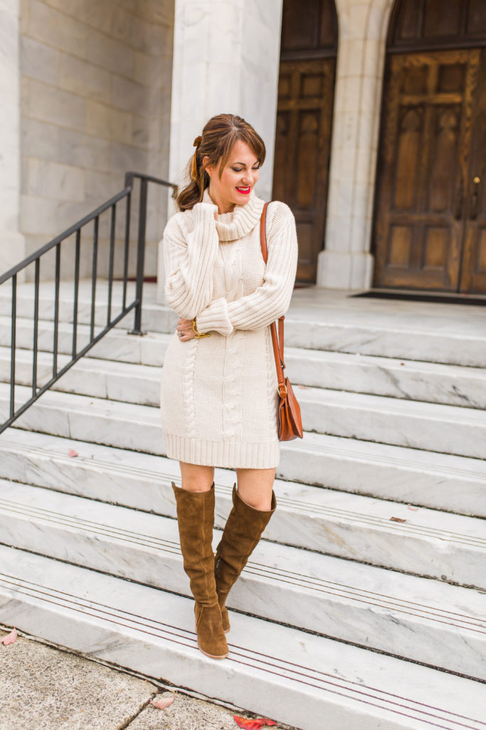 How to wear a sweater dress this holiday season via Peaches In A Pod blog.