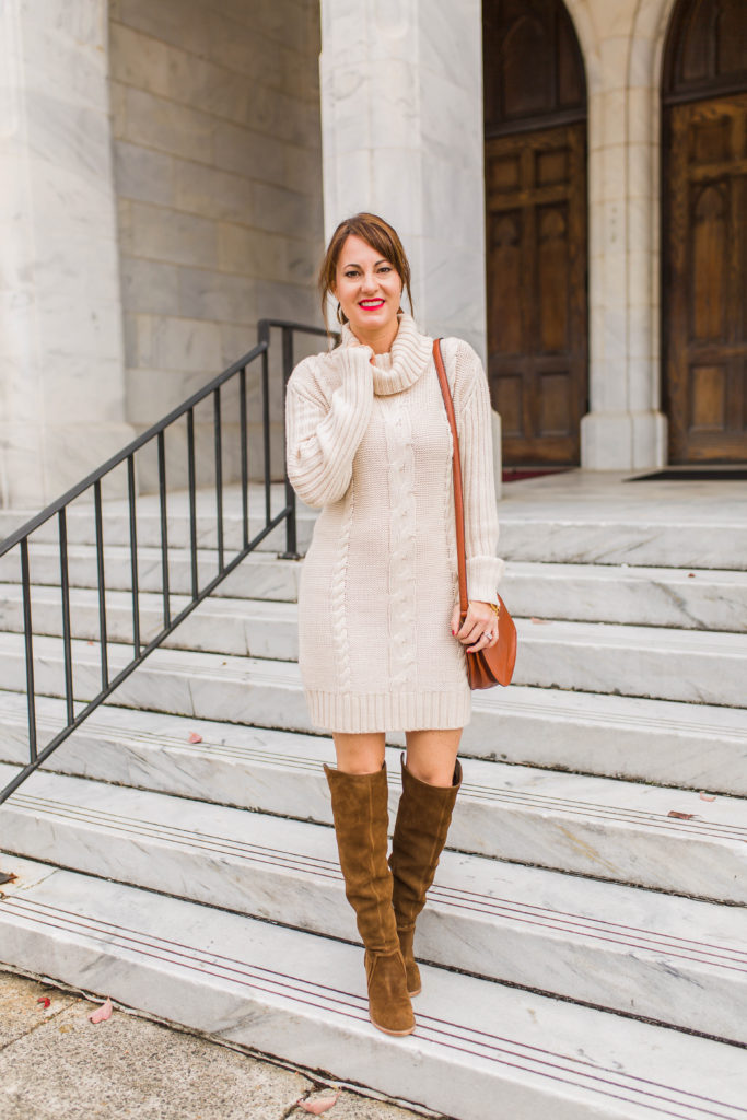 Beige cable knit sweater dress via Peaches In A Pod blog.