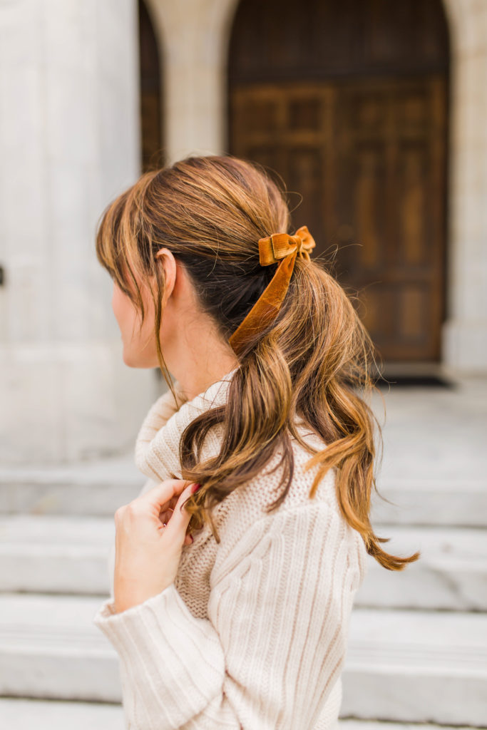J. Crew Velvet Hair Tie in Brandy via Peaches In A Pod blog.