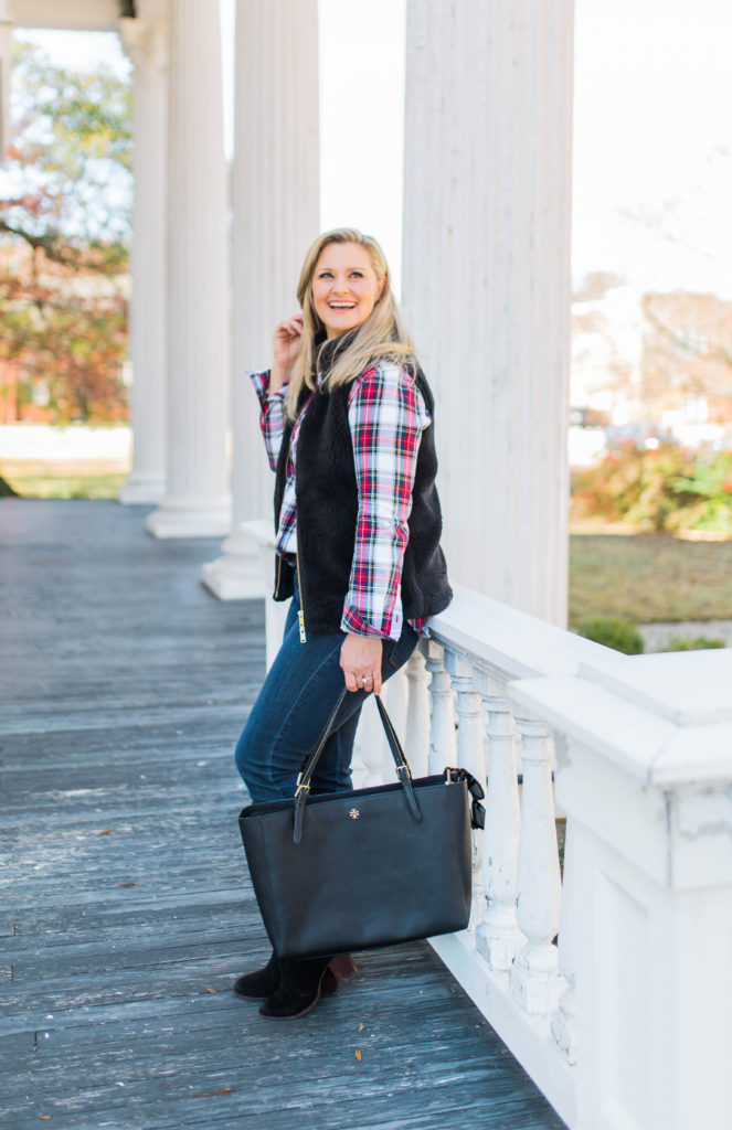 The perfect plaid shirt to create a festive holiday casual outfit.