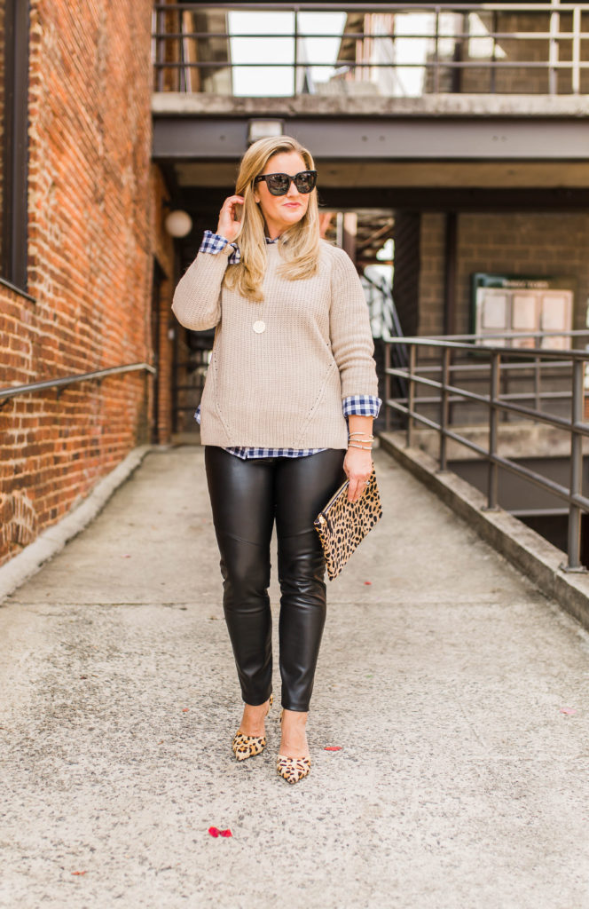 How to style leather leggings to create a great casual outfit perfect for a cold winter day.