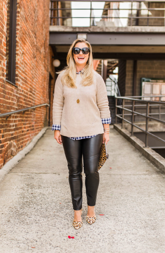 Cute leather leggings outfit outfit that is perfect for a cold winter day.