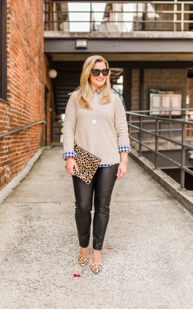 how to wear leather leggings to create a fun warm winter outfit.