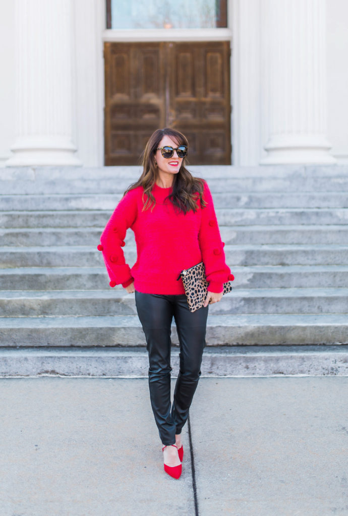 How to wear a pom sweater via Peaches In A Pod blog.