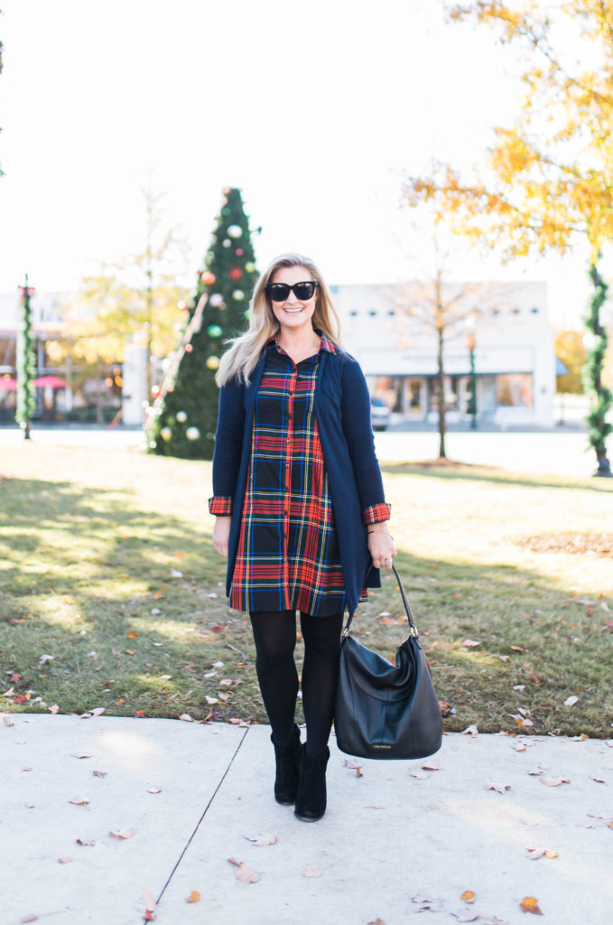 How to style a long sleeve plaid shirt dress for the holidays.