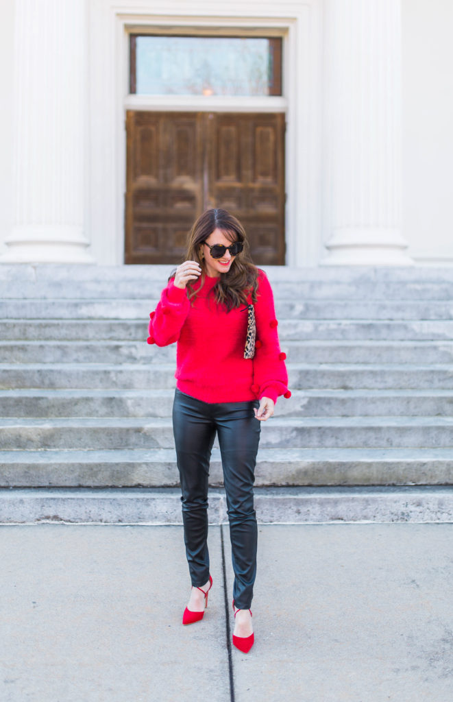 Pom sweater outfit idea via Peaches In A Pod blog.