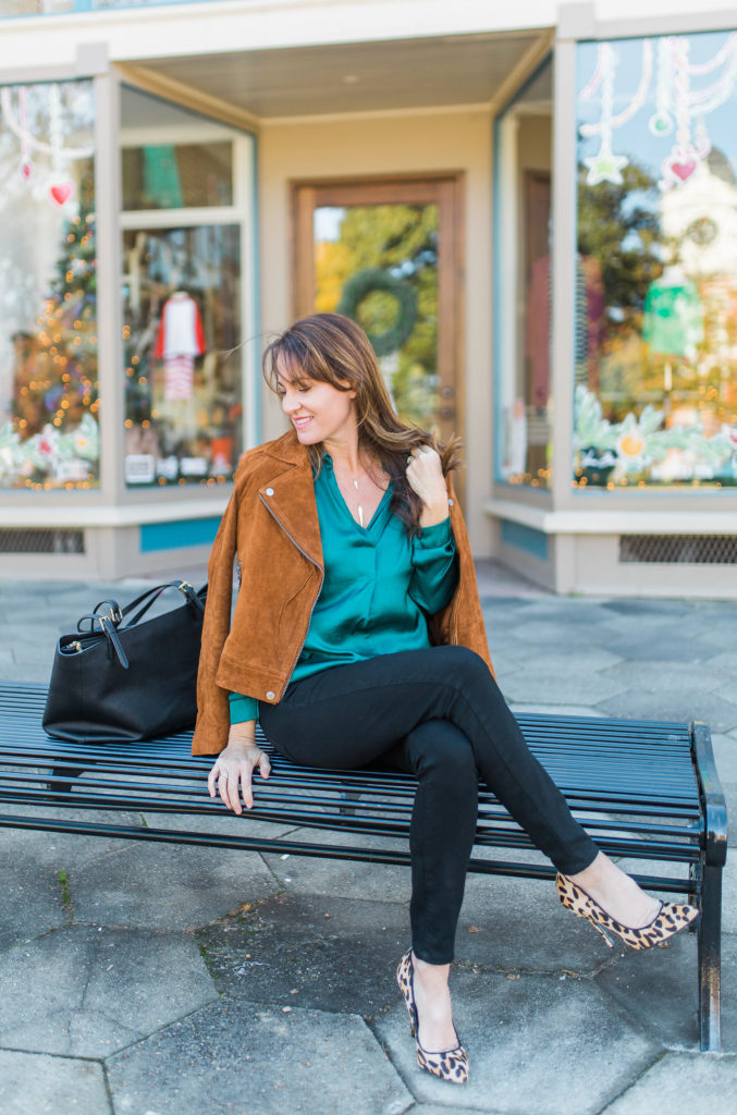 How to wear a suede moto jacket via Peaches In A Pod blog.