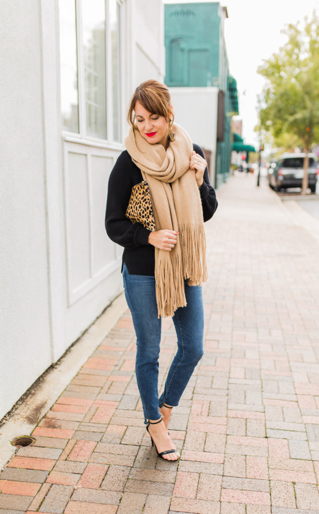 Camel fringe scarf outfit idea for women via Peaches In A Pod blog.