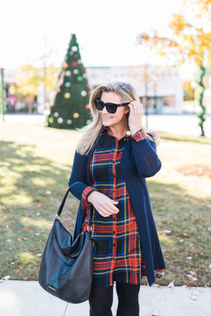 cute plaid dress that is perfect for the holiday season. Paired with tights and booties to create a great festive look.