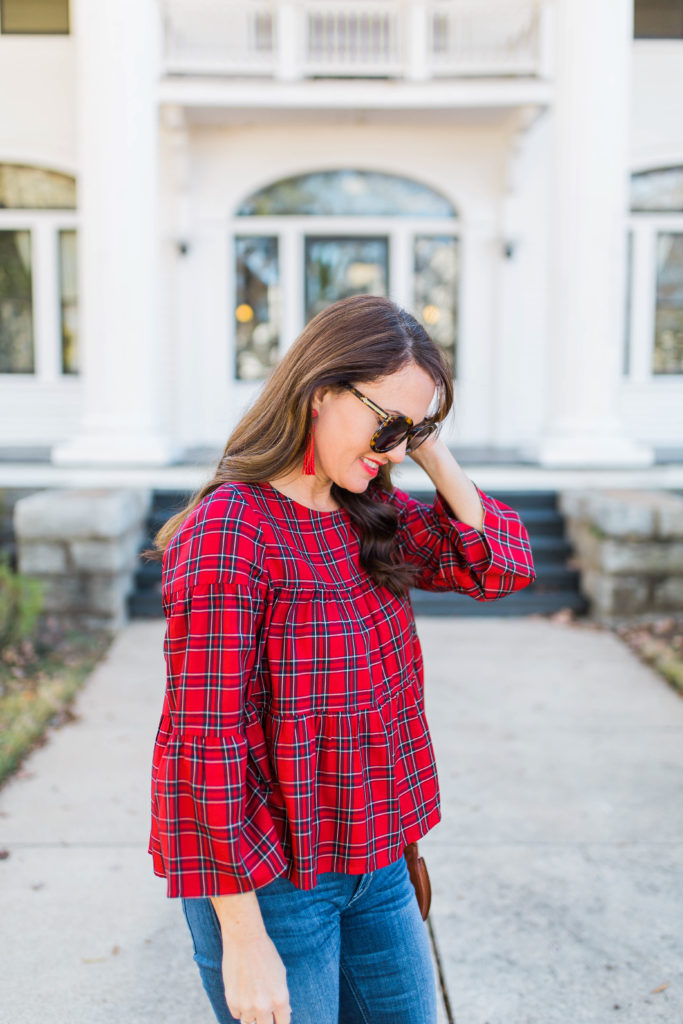 Madewell Plaid top via Peaches In A Pod blog.