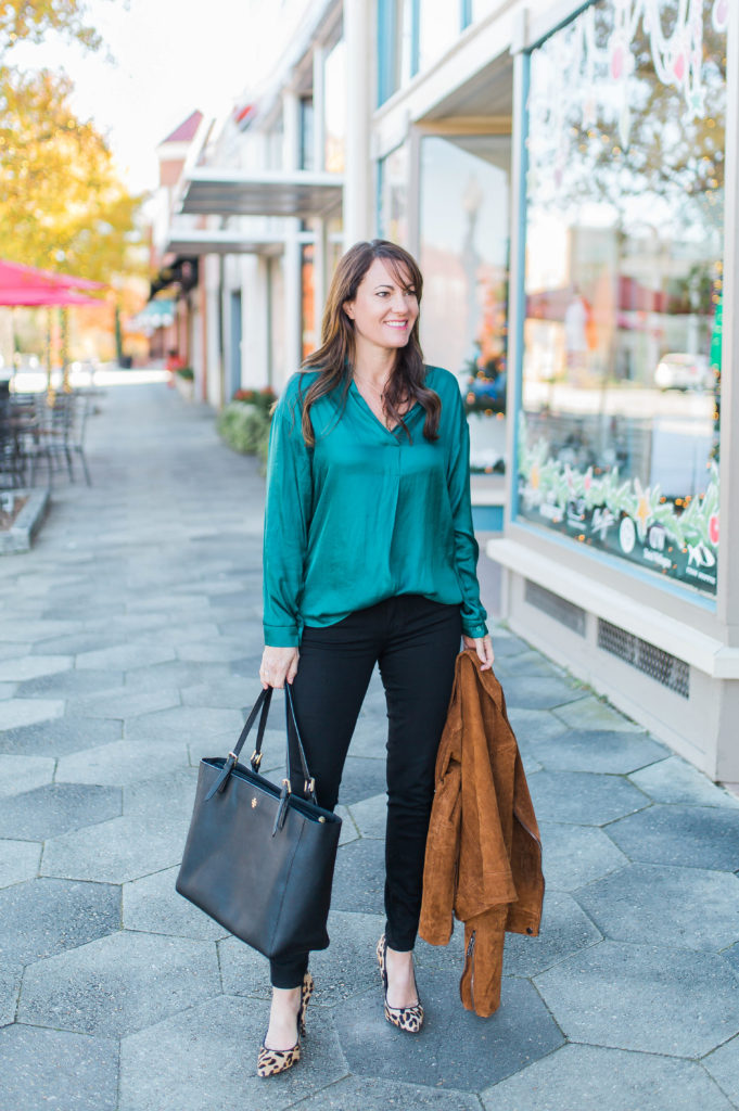 Green blouse outfit idea via Peaches In A Pod blog.