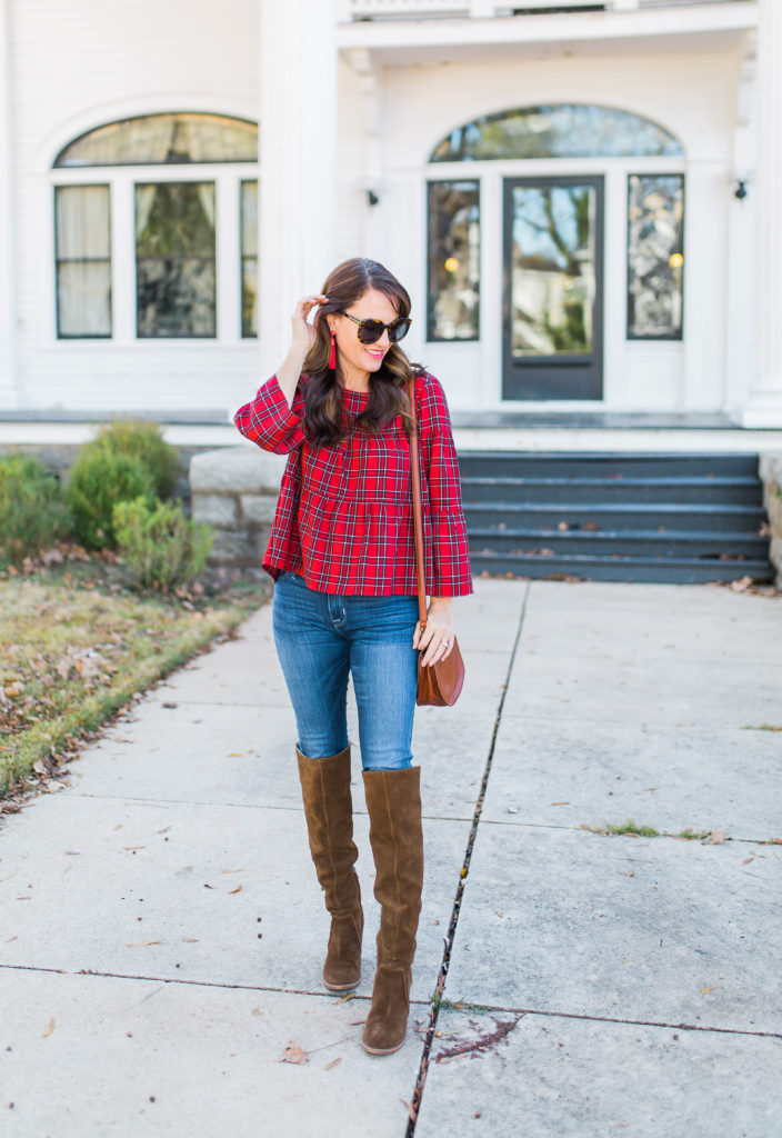 Cute plaid top and over the knee boots via Peaches In A Pod blog.