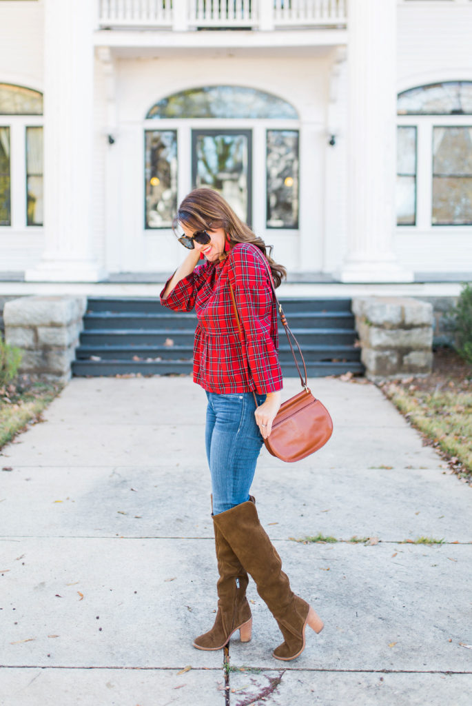 Casual Christmas Outfit Idea via Peaches In A Pod blog. Cute Plaid top and Over the knee boots outfit idea.