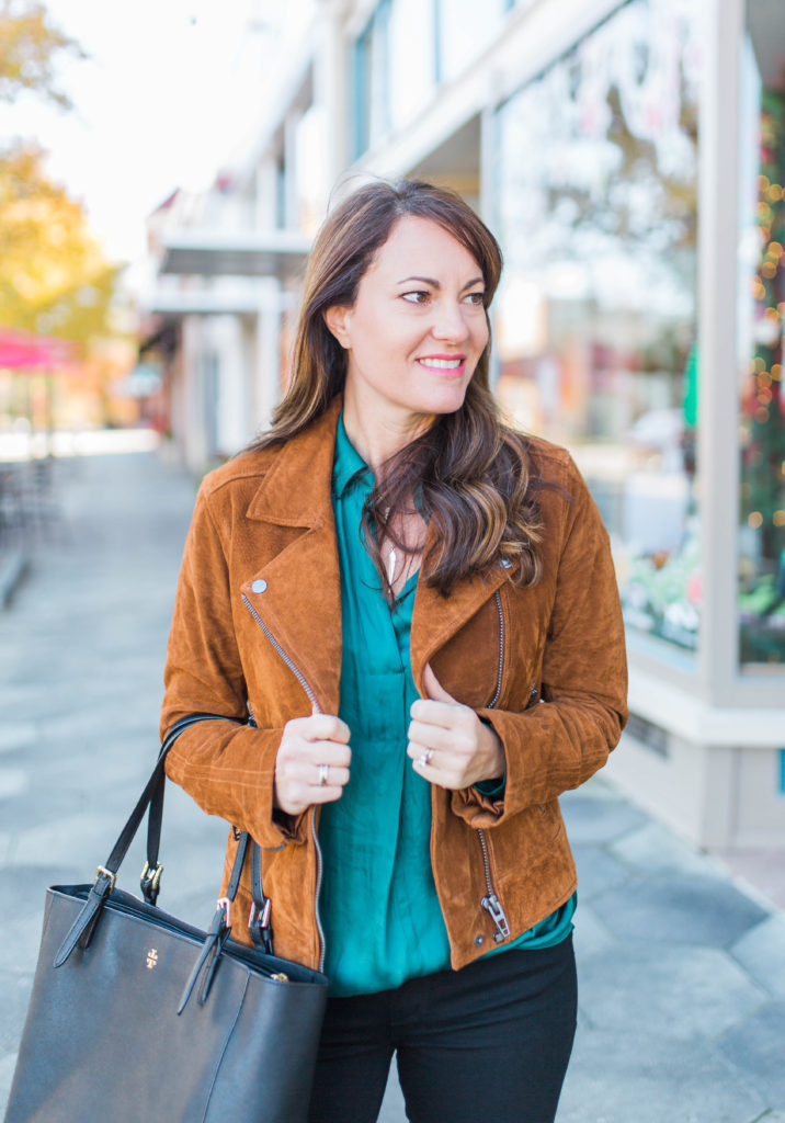 Green satin blouse outfit via Peaches In A Pod blog.