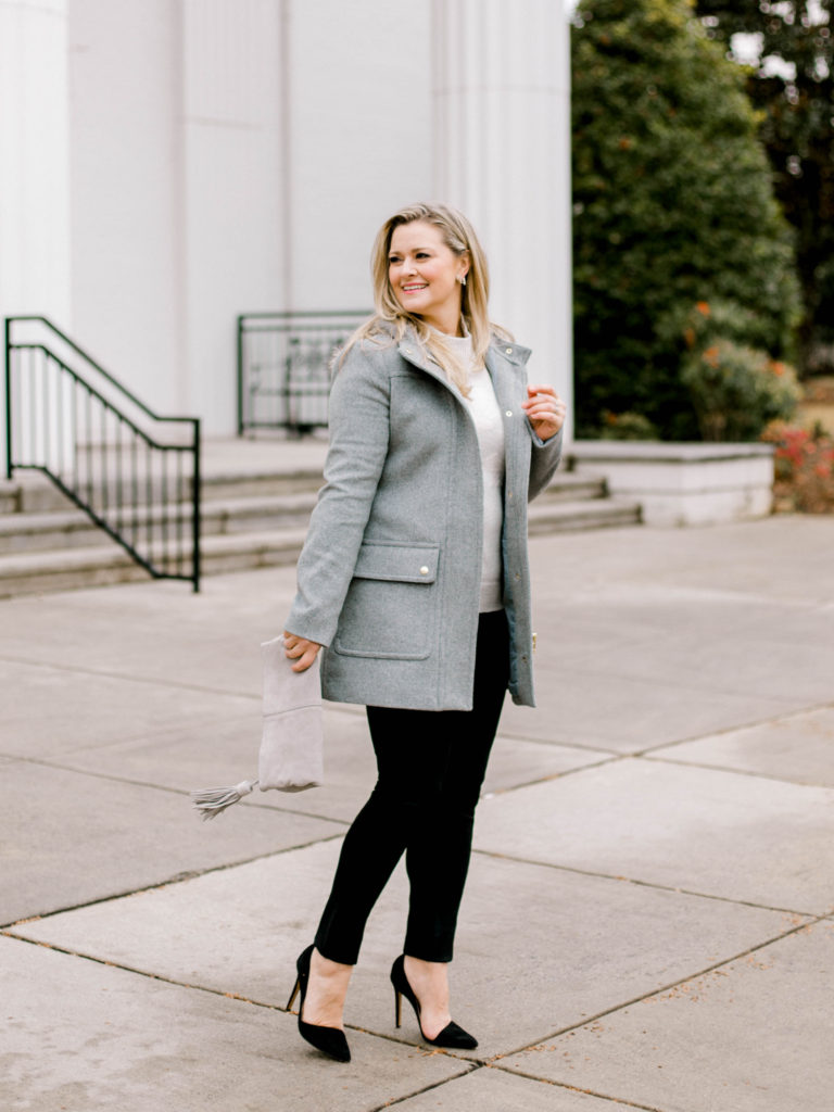 How to style a wool jacket with black pants to create a great winter outfit.