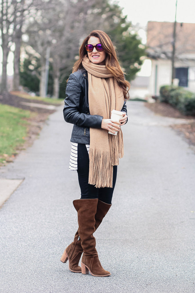 cute winter outfit with over the knee boots